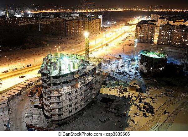 建造建筑物, 站點, 夜晚 - csp3333606