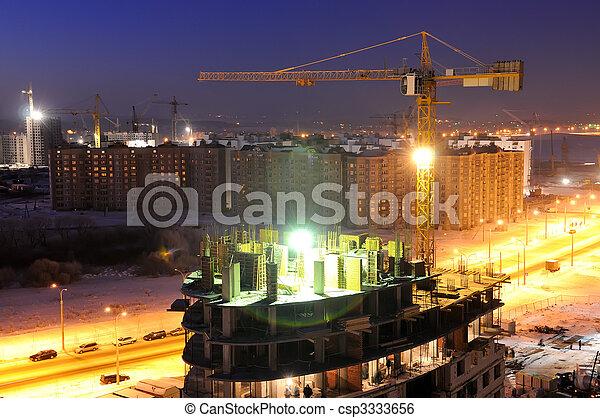 建造建筑物, 站點, 夜晚 - csp3333656