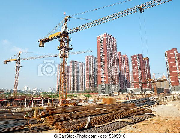 建造起重机, 建築工地 - csp15605316