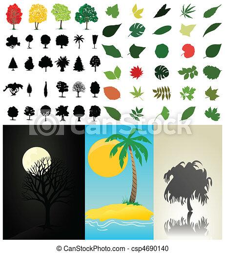 彙整, 矢量, 樹, leaves., 插圖 - csp4690140