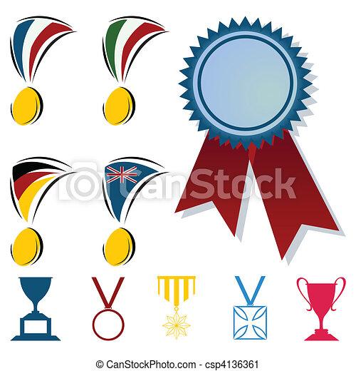 形式, 插圖, 矢量, 獎品, cups., 獎章 - csp4136361