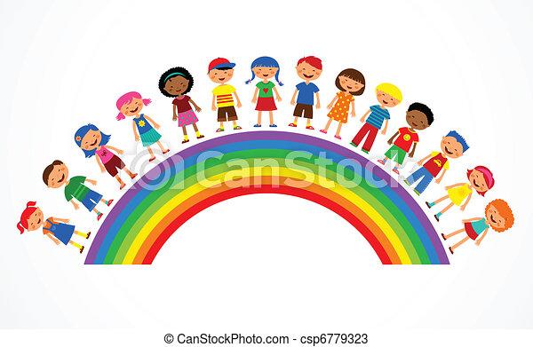 彩虹, 矢量, 孩子, 插圖, 鮮艷 - csp6779323