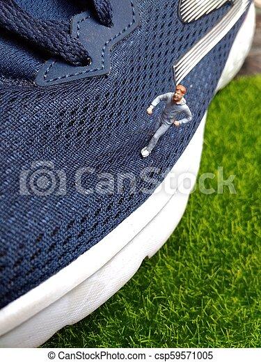微型, 玩具, 鞋子, 圖, 跑, 運動, 人 - csp59571005