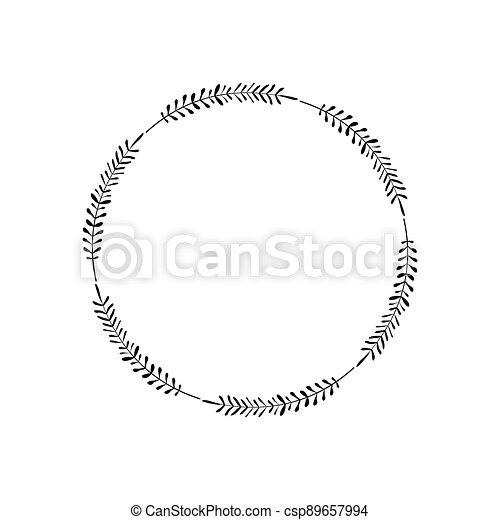 心不在焉地亂寫亂畫, 花冠, 家, 問候, 矢量, 設計, border., style., 邀請, 草, 卡片。, 最簡單派藝術家, 標識語, 框架, 末梢, 離開, 刀片, 圖象, 輪, 雅致, 裝飾, 元素, 簡單 - csp89657994