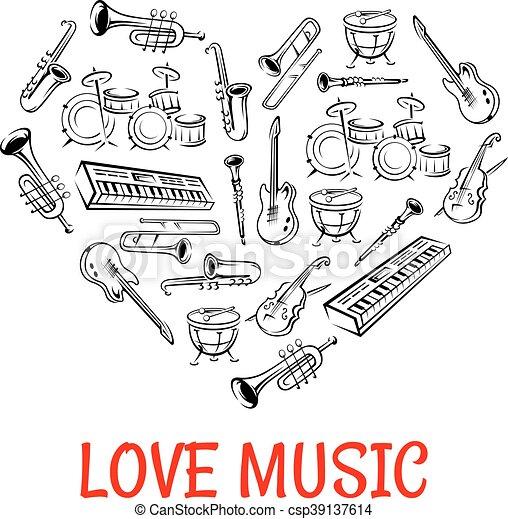 心, 圖象, 儀器, 第一流, 成形, 音樂 - csp39137614