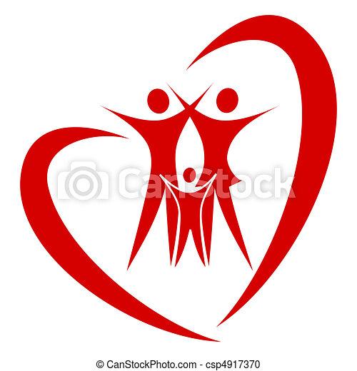 心, 矢量, 家庭 - csp4917370