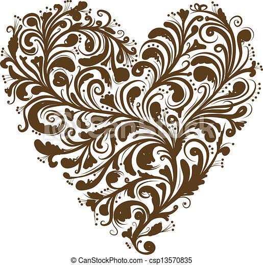 心, 裝飾品, 形狀, 設計, 植物, 你 - csp13570835