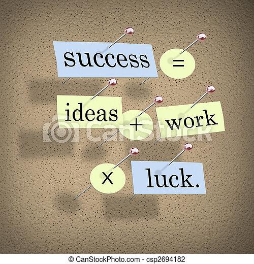 成功, 工作, 想法, 時代, 相等, 加上, 運气 - csp2694182