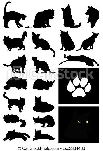 房子, 插圖, 黑色半面畫像, 矢量, 黑色, cats. - csp3384486