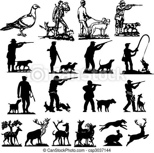 打獵, 黑色半面畫像, 彙整 - csp3037144