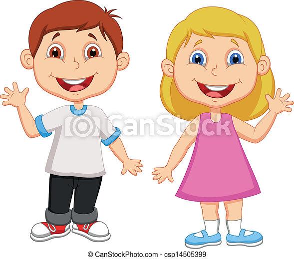 招手, 男孩, 女孩, 卡通, 手 - csp14505399