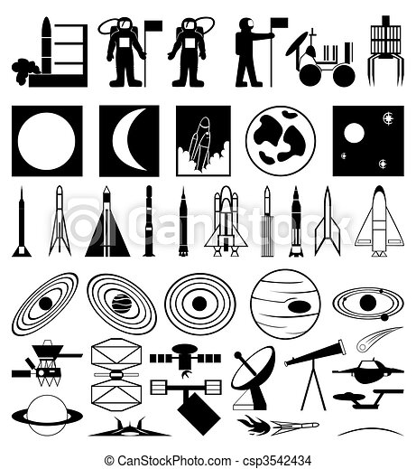 插圖, 主題, 彙整, 黑色半面畫像, 矢量, space. - csp3542434
