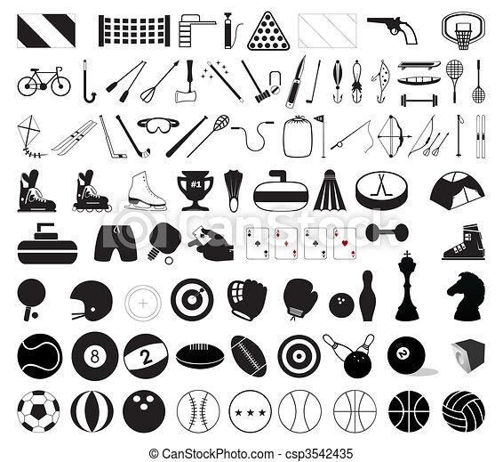 插圖, 運動, accessories., 矢量, 各種各樣, 彙整 - csp3542435