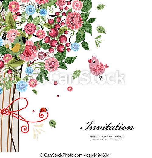 明信片, 裝飾的設計, 樹 - csp14946041