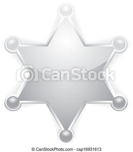 星, 郡長, 矢量, 白色, 徽章, 銀 - csp16931613