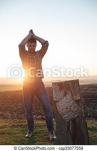 時髦, lumberjack, work. - csp33077559