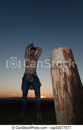 時髦, lumberjack, work. - csp33077577