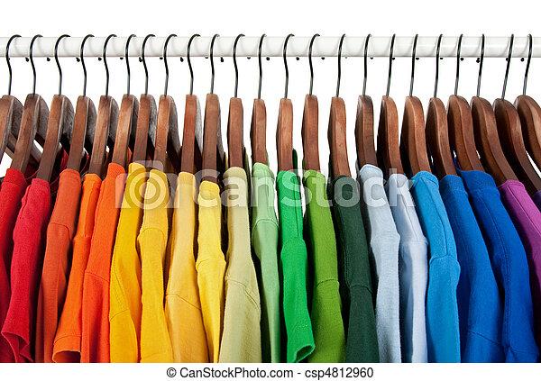 木制, 彩虹, 衣架, 顏色 - csp4812960