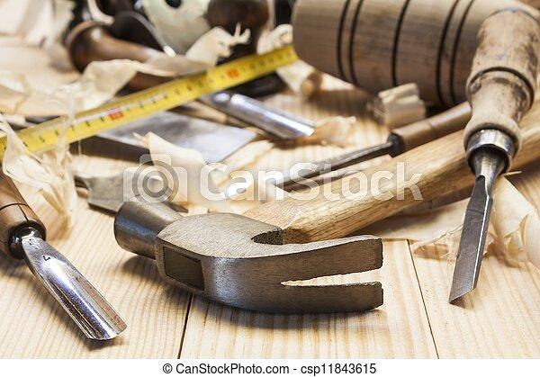 桌子, 木頭, 工具, 木匠, 松樹 - csp11843615