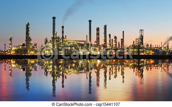 植物, 油, 反映, -, 气体, 工廠, 精煉厂, 石油化學產品, 黃昏 - csp15441107