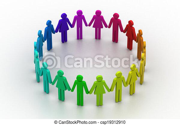 概念, 人們, 建立, 工作組, circle., 3d - csp19312910