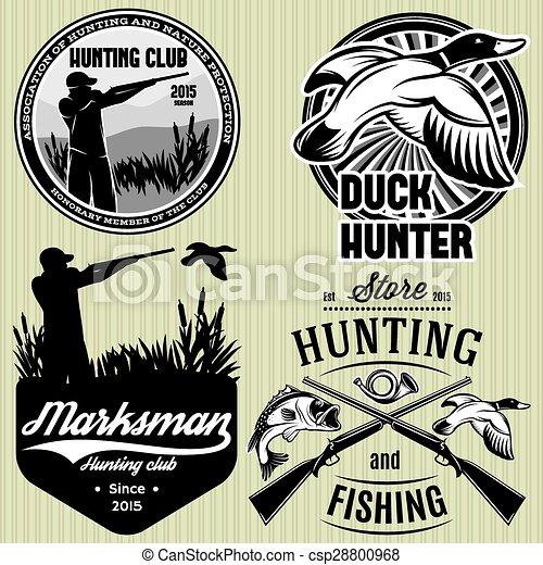 槍, 集合, 象征, 打獵, 獵人, 鴨子, 圖樣, 下降 - csp28800968