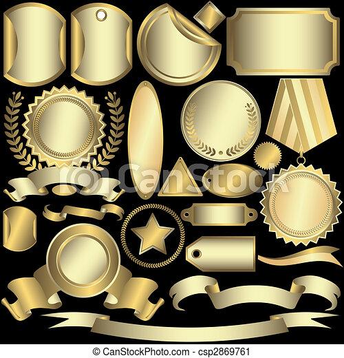 標籤, 黃金, (vector), 集合, 銀色 - csp2869761