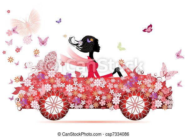 汽車, 女孩, 花, 紅色 - csp7334086