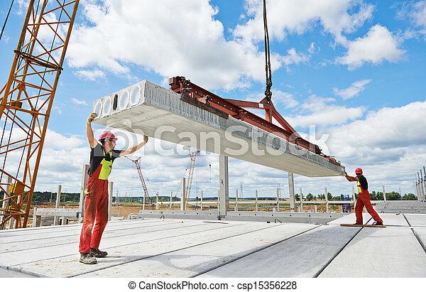 混凝土, 工人, 平板, 安裝 - csp15356228