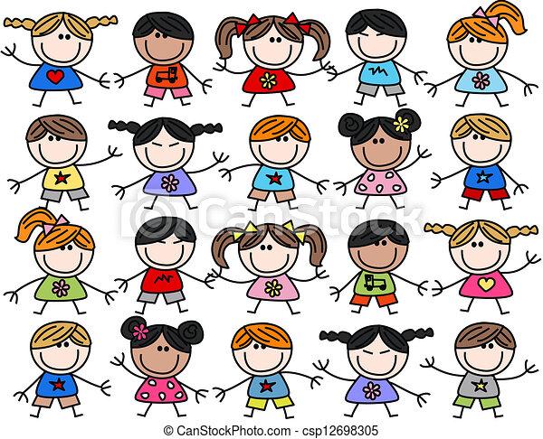 混合, 孩子, 孩子, 种族, 愉快 - csp12698305