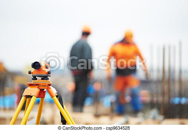 測量員, 設備, 建築工地, 水平 - csp9634528