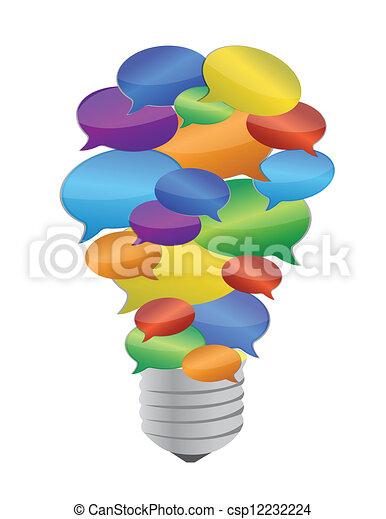 燈泡, 消息, 氣泡, 鮮艷 - csp12232224