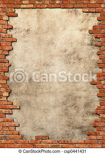 牆, grungy, 磚, 框架 - csp0441431