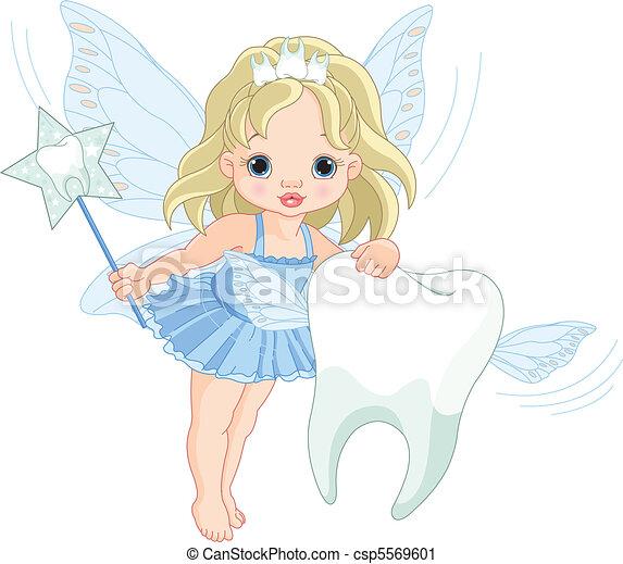 牙齒仙女, 飛行, 漂亮 - csp5569601