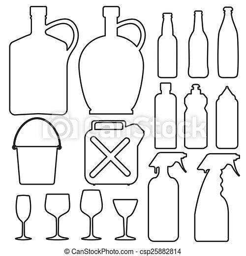 瓶子, 杯子, 彙整, 線, 玻璃 - csp25882814