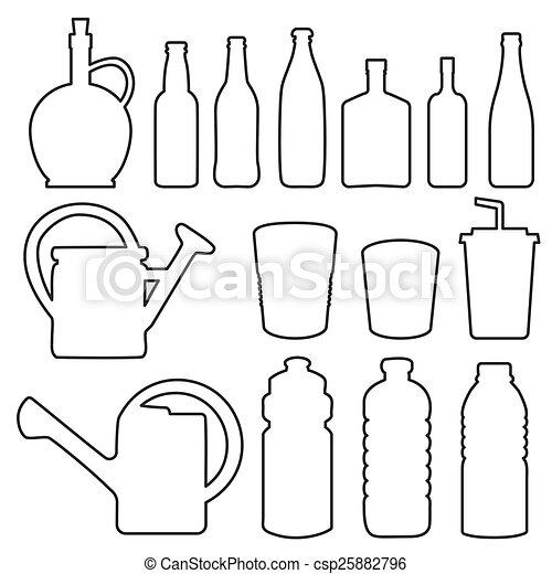 瓶子, 杯子, 彙整, 線, 玻璃 - csp25882796