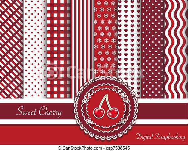 甜, scrapbooking, 櫻桃, 數字 - csp7538545