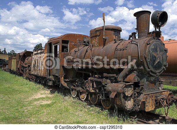 生鏽, 老, 蒸汽, 機車 - csp1295310