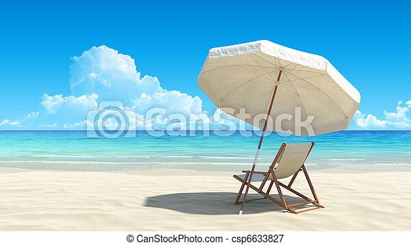 田園詩, 傘, 熱帶, 沙子, 椅子, 海灘 - csp6633827