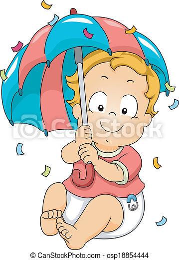 男嬰, 顯示, 傘 - csp18854444