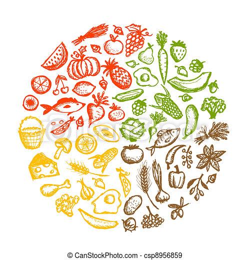 略述, 健康的食物, 背景, 設計, 你 - csp8956859