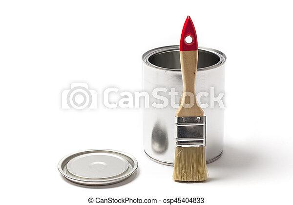 畫罐, 打開, 罐頭, 刷子 - csp45404833