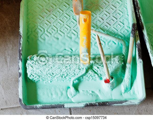 畫, 塑料, paintbrushes, 托盤 - csp15097734