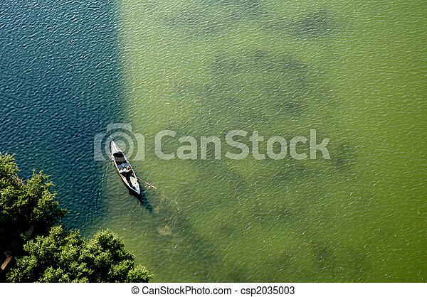 看法, 空中, 湖, 獨木舟 - csp2035003