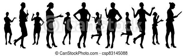 矢量, 從事工商業的女性, 集合, silhouettes., 不同, 擺在, 插圖 - csp83145088