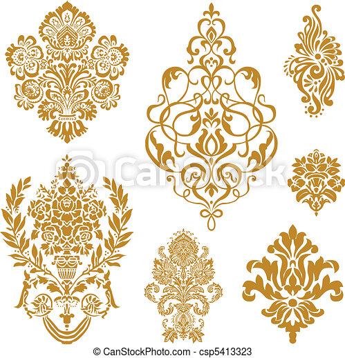矢量, 集合, 裝飾品, 金, 緞子 - csp5413323