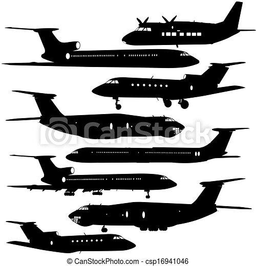 矢量, 飛机, 彙整, 不同, silhouettes., 插圖 - csp16941046
