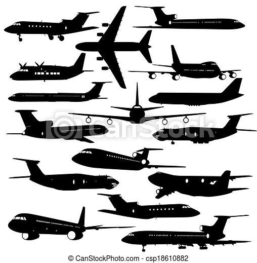 矢量, 飛机, 彙整, 不同, silhouettes., 插圖 - csp18610882