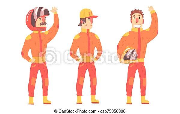 矢量, 騎手, 人, 橙, suits., illustration. - csp75056306
