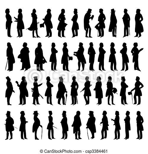 矢量, 黑色半面畫像, 人, suits., 插圖 - csp3384461